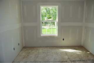 Picture of bedroom 2 view from inside the room with drywall installed