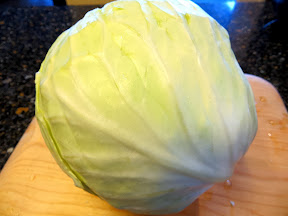 Can you imagine a face on this head of cabbage from the Farmers Market?