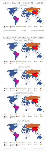 2009 to 2011 world map of social networks