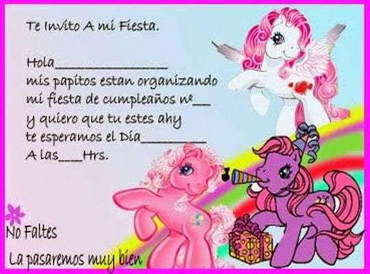 Dibujos Animados Texto Naranja: Tarjeta De Invitación Para Imprimir Gratis Little Pony