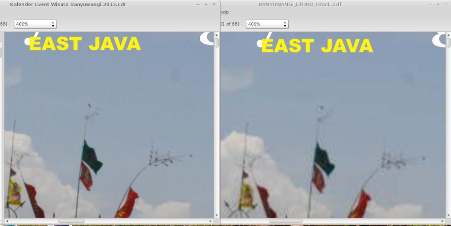Perbandingan antara file asli (kiri) dengan hasil kompresi (kanan) pada zoom 400% tampak hasil kompresi blur