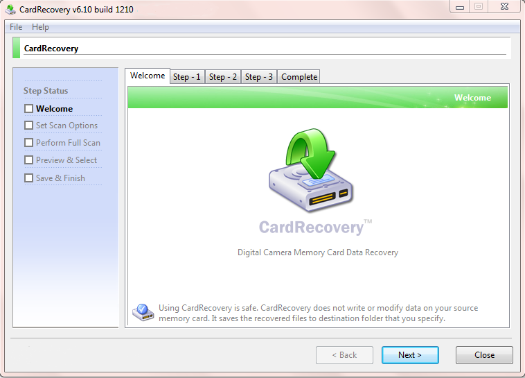 Screenshot of Card Recovery v.6.10 Build 1210 With License Recovery PC Software Free Download at Alldownloads4u.Com