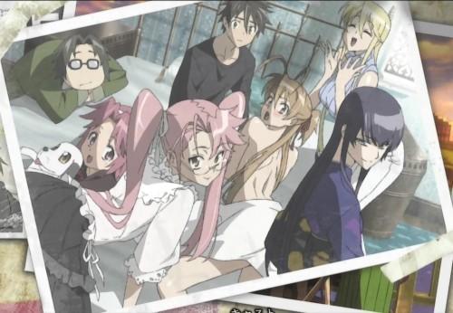 em cima: Hirano, Takashi, Shizuka; em baixo: Zeke, Alice, Saya, Rei, Saeko