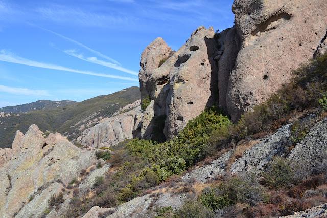 well holed rocks along the ridge line