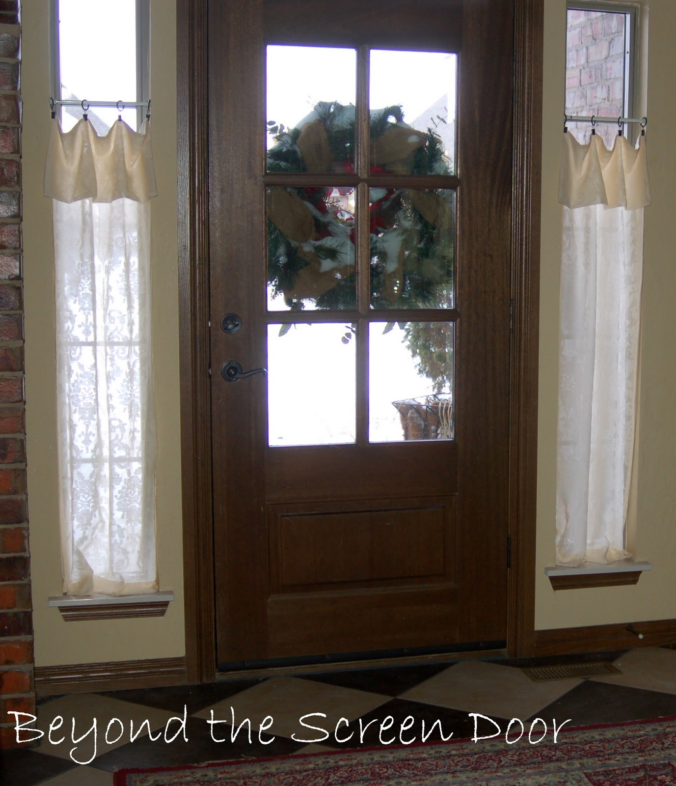Glass front door window treatments - Original Window Treatments Were Simple Patterned Sheers Each Curtain