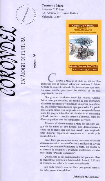 """Corondel, catálogo de Cultura. Cuentos a Marc"""" de Antonio F. Prima Manzano"""