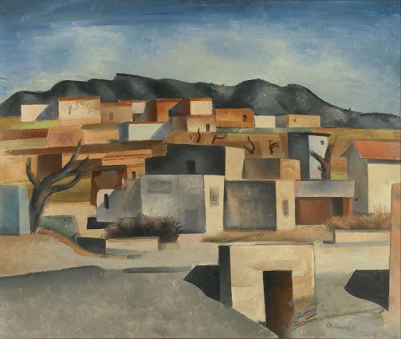 "Andrew Dasburg (American, born France, 1887-1979), ""Pueblo Village,"" c.1926-1928, oil on canvas"