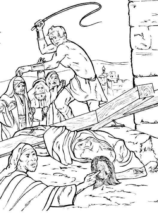 Jesús cae por segunda vez para colorear