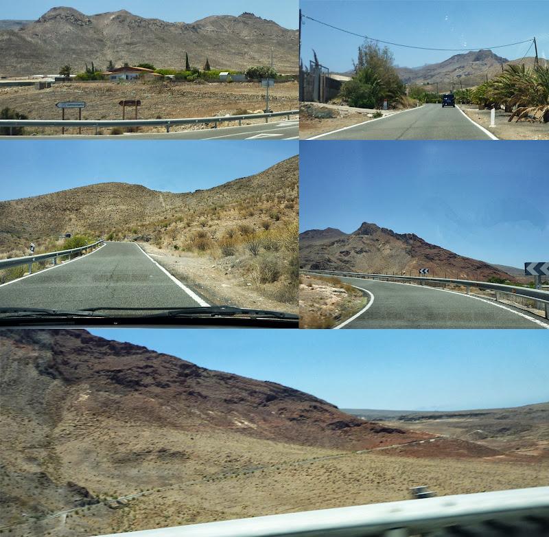 Fotocollage von Bildern aufgenommen auf einer Straße im wüstenhaften Südwesten der Insel.