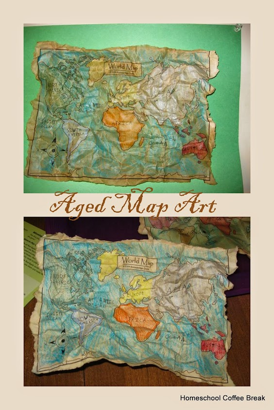 Aged Map Art on the Virtual Refrigerator, an art link-up on Homeschool Coffee Break @ kympossibleblog.blogspot.com - how to create a map that looks like an antique!