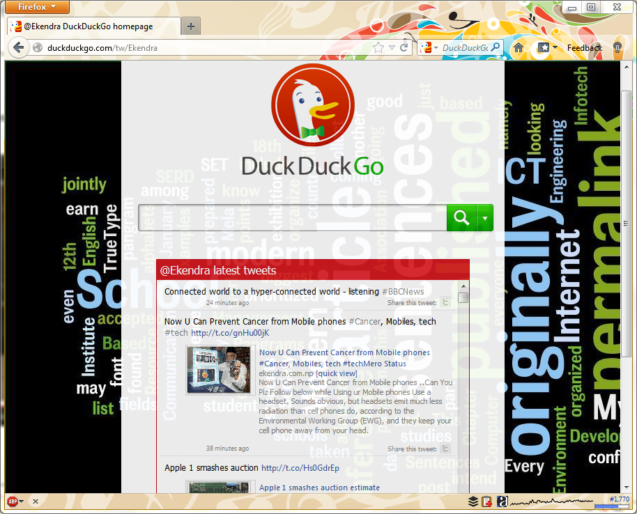 Get your own personalized DuckDuckGo homepage easily - http://bit.ly/KtVpAE