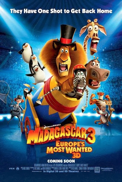 Poster Of Madagascar 3: Europe's Most Wanted (2012) Full Movie Hindi Dubbed Free Download Watch Online At Alldownloads4u.Com
