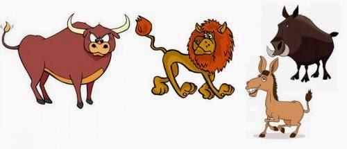 El leon el jabali, el toro y el asno