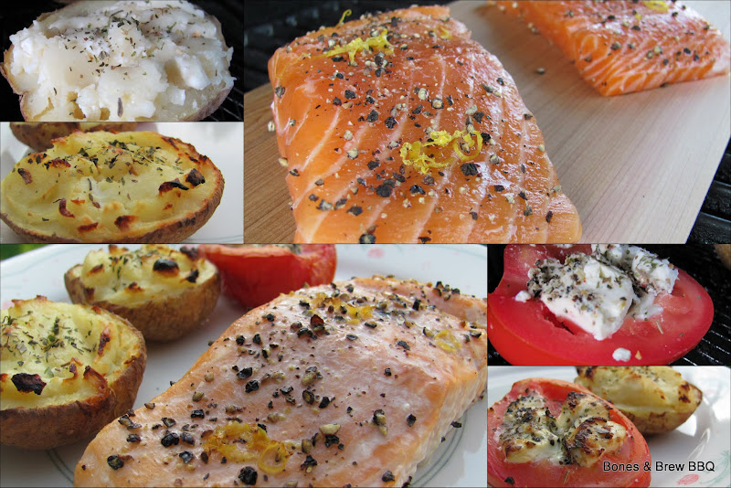 Maple Pepper Planked Salmon with Double Stuffed Potato and Stuffed Tomato