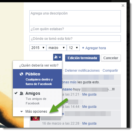 cambiar privacidad fotos facebook