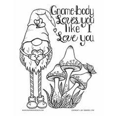 Mushroom valentine coloring page