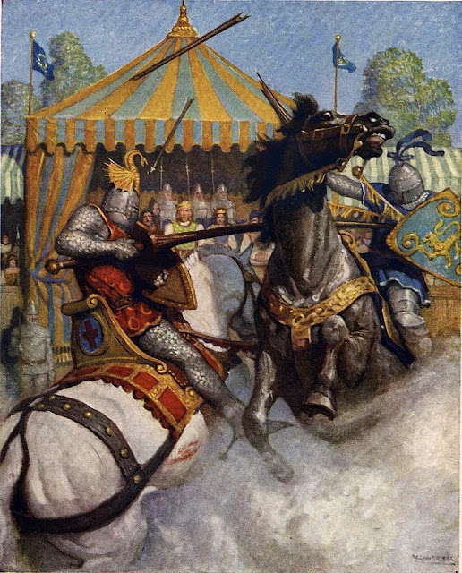 N. C. Wyeth - Sir Mador's spear brake all to pieces, but the other's spear held