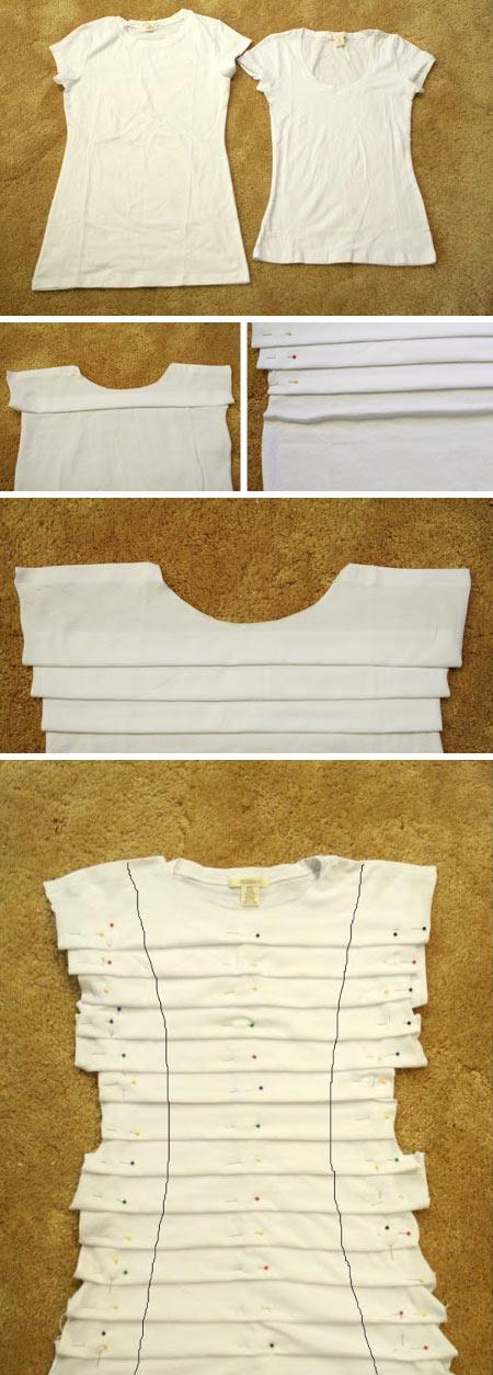 diy customização de camiseta branca com pregas