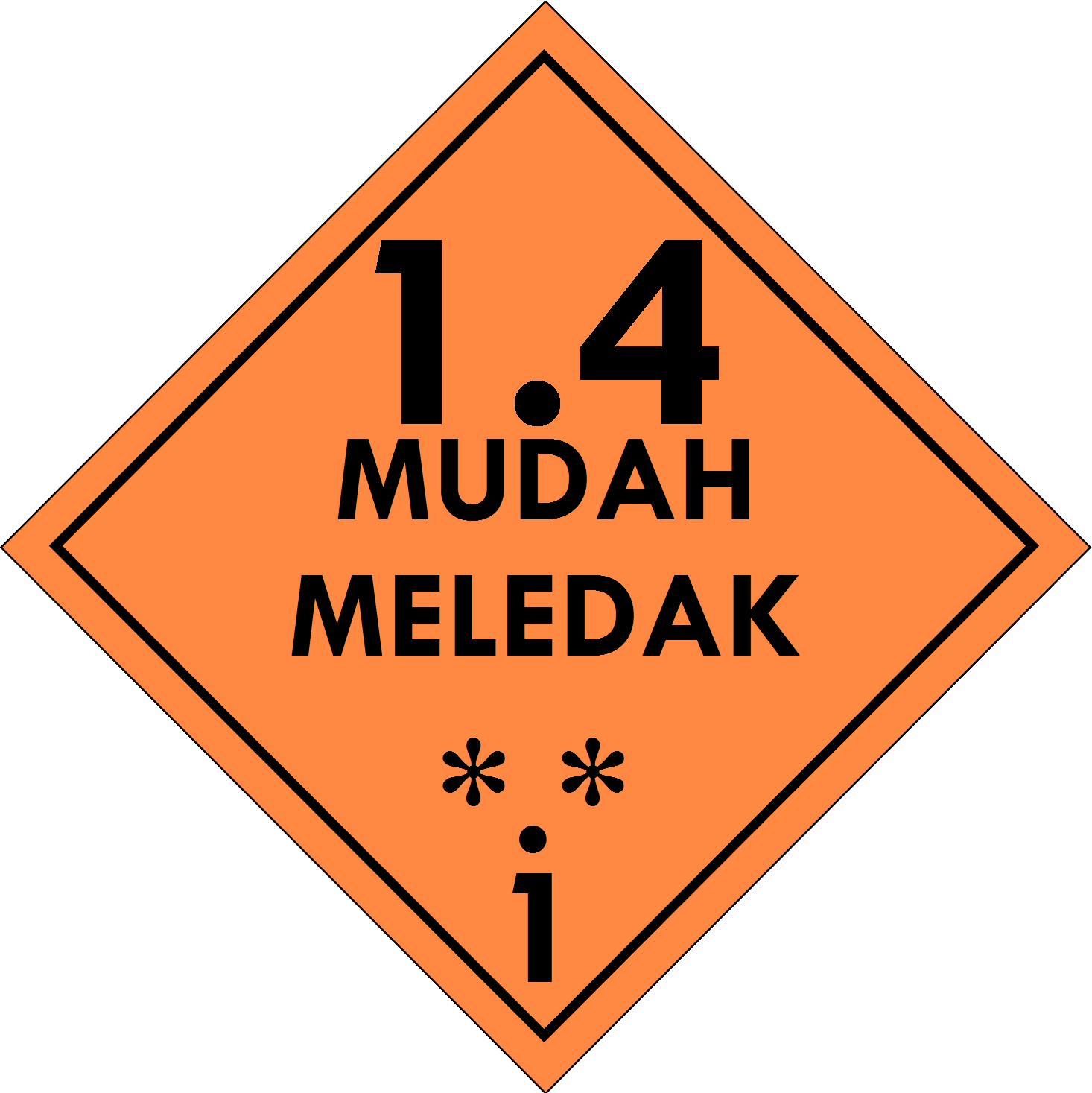 Label (Simbol) Transportasi Bahan (Material) Mudah Meledak 1.4