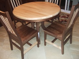 40″ x 30″ Montrose Round Table and Runic Dining Chairs in Mixed Wood, Natural Walnut and Maple