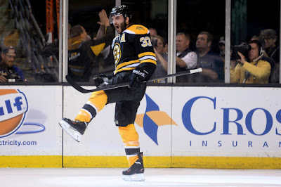 Bruins Patrice Bergeron celebrates a goal on June 17, 2013