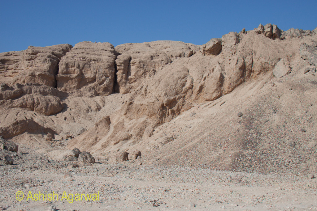 The limestone hills where the pharaohs dug their burial chambers, close to Luxor
