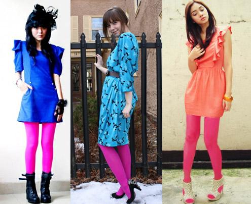 como usar meia-calça cor de rosa com vestido colorido (color block)
