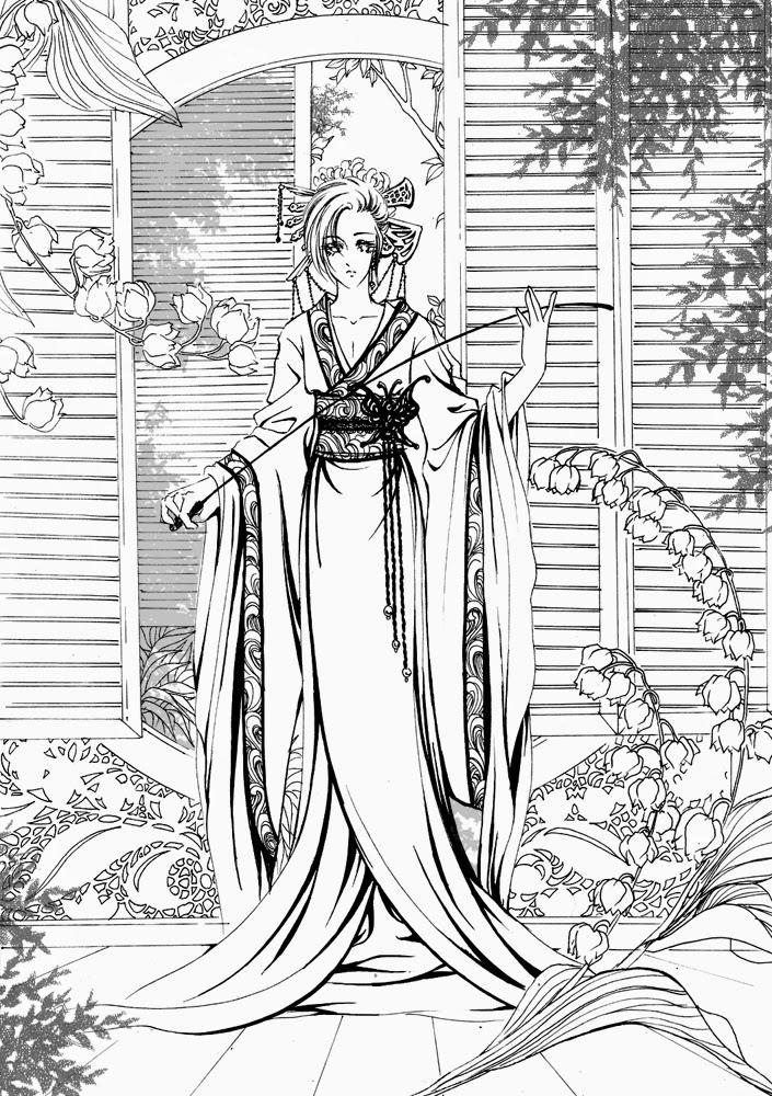 Dessin japonais a colorier - Coloriage manga difficile ...