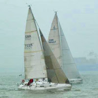 J/105 sailing at SORC Regatta- Cowes, England