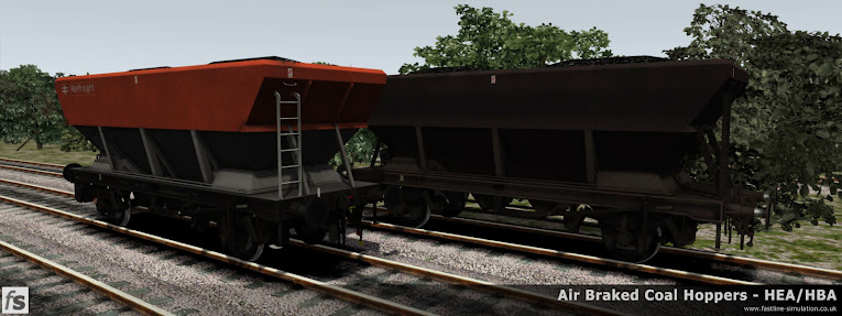 Fastline Simulation - HBA/HEA Coal Hoppers: Two of the variations provided in our expansion for Train Simulator 2014.