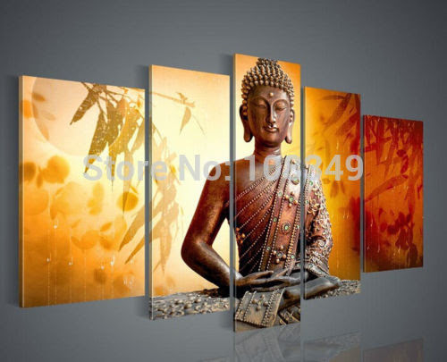 Handpainted oil painting Bamboo leaves of Buddha High Q