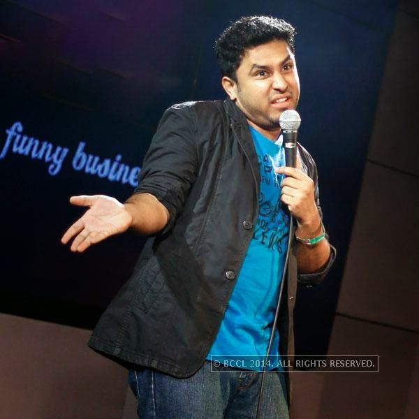 Abhish Mathew performs during a stand-up comedy show at Manhattan.
