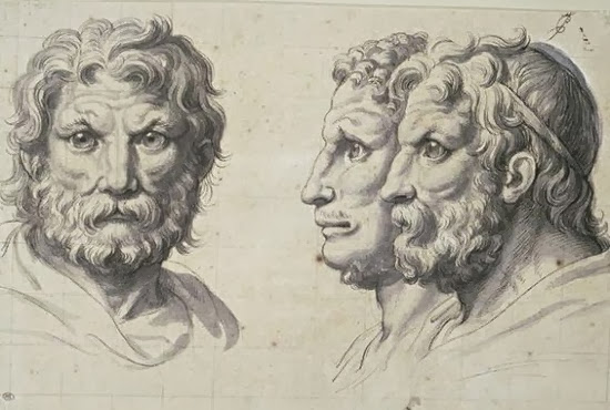 Charles Le Brun - Three lion-like heads