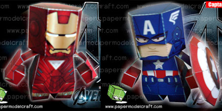 The Avengers Paper Toy Iron Man Captain America