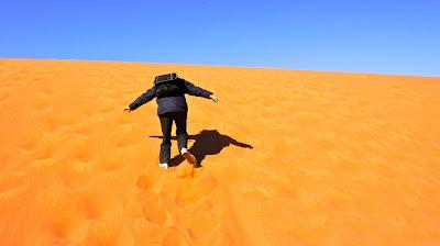 Climbing up the golden desert sand