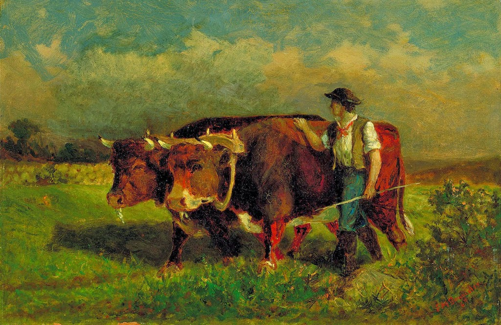 Edward Mitchell Bannister - Untitled (man with two oxen)
