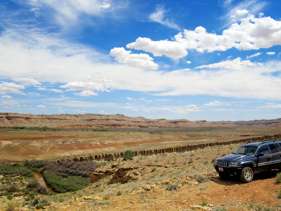 The Jeep parked on the San Rafael Reef above the river