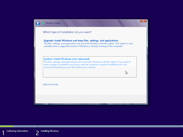 Windows 8 clean install, custom installation