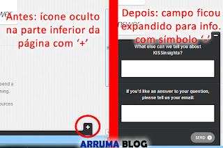 Representação do fomulário dinâmico antes e depois em um blog