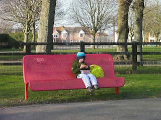 red metal park bench milton park portsmouth