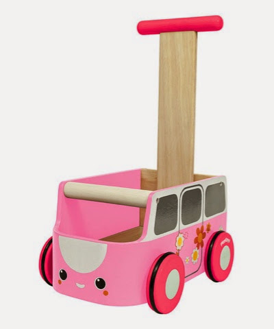 Pink Wooden push along Campervan Camper van baby walker by plan toys