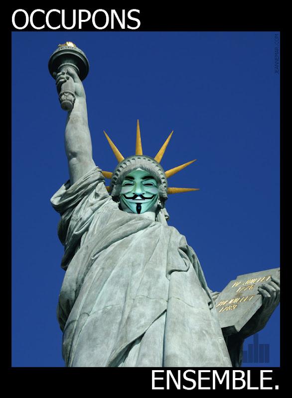 15 octobre, occupons ensemble. Statue de la liberté. Jean Némar