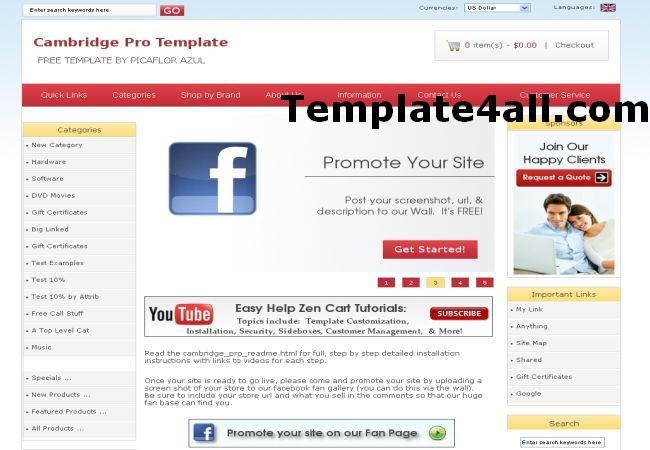 Software Online Shop Zencart Theme Template