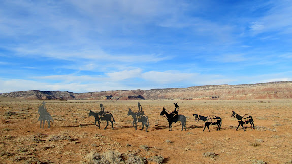 Metal silhouettes on Buckhorn Flat, representing travelers on the Old Spanish Trail