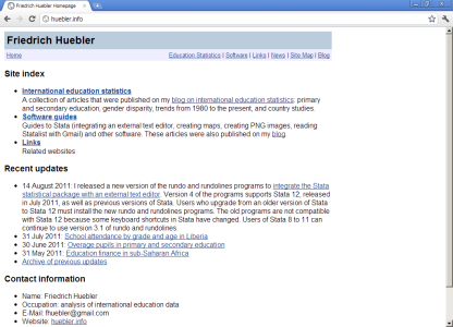 Screenshot of huebler.info