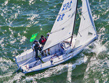 J/70 EOS sailing upwind at San Francisco Big Boat Series