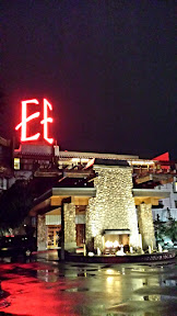 Edgewater hotel, Seattle, at night with its big roaring fireplace outside its entrance