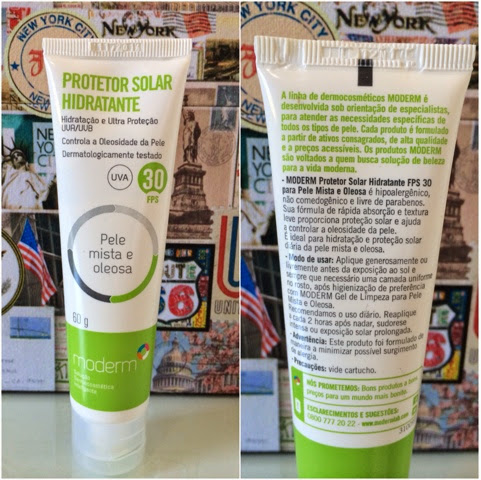 protetor solar hidratante, pele, mista a oleosa, FPS30, Moderm, UVA, UVB