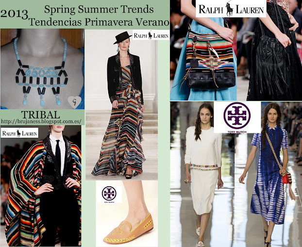 Tribal trend on Fashion shows Spring Summer 2013/ Tendencia tribal en la pasarela Primavera verano 2013, Ralph Lauren, stripes, striped, stripe, rallas, tribal, etnico, ethnic, tory burch
