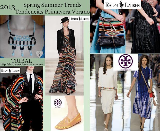 Tribal trend on Fashion shows Spring Summer 2013/ Tendencia tribal en la pasarela Primavera verano 2013, Ralph Lauren, stripes, striped, stripe, rallas, tribal, etnico, ethnic, tory burch